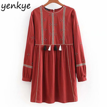 Women Front Tassel Trims Embroidery Dress Lady Long Sleeve O Neck A-line Mini Autumn Casual Dress vestido mujer CCWM8878
