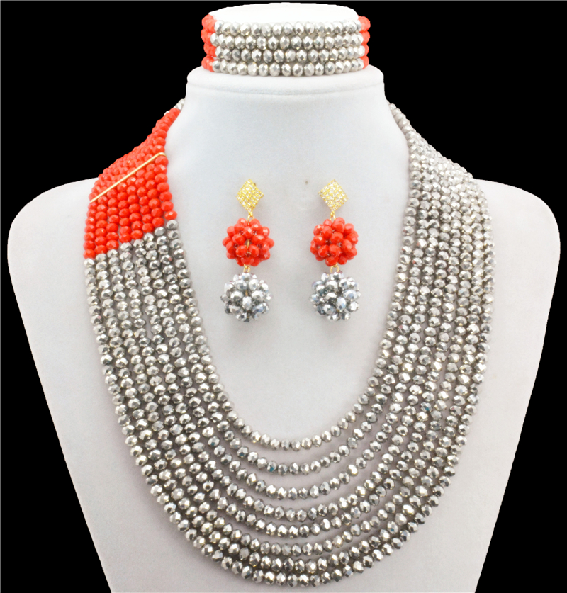 Silver Red African Wedding Jewelry Set,African Crystal Beads Necklace Set ,Nigerian Beads Jewelry Set,African Beads Necklace african symbolism