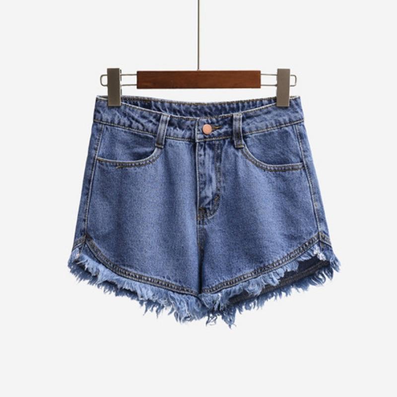 Women's Summer High Waist Shorts Streetwear Fringe Cotton Tassel Shorts Jeans Plus Size