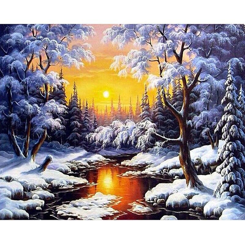 5d diy diamond embroidery cross stitch winter scenery