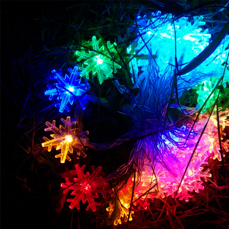 10M 220V 100 LEDs Colorful Snowflake Lights String Christmas Festival Party Fairy Xmas Holiday Decorated Lighting with Tail Plug