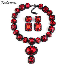 Vedawas Luxury Crystal Choker Necklace Collar Rhinestone Collier Beads Earrings Womens Fashion Statement Jewelry Sets XG1595