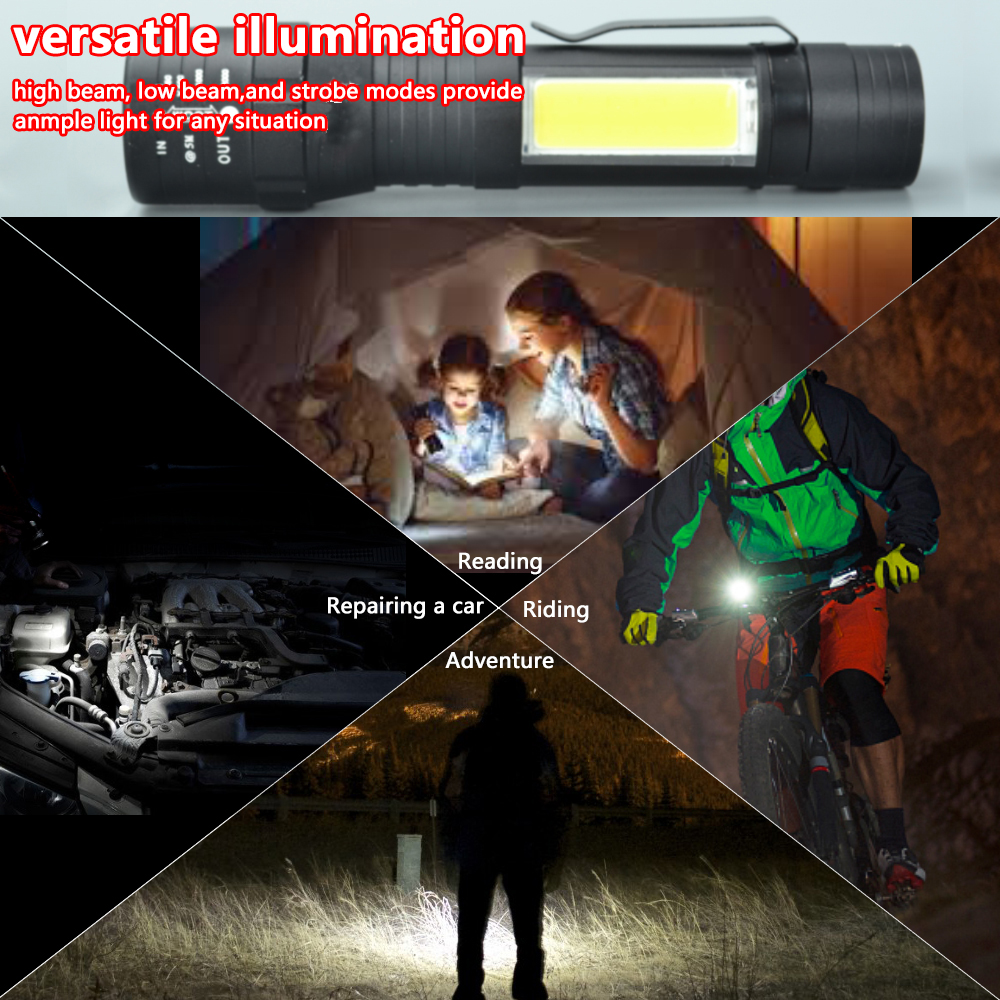 Купить с кэшбэком USB Rechargeable Built-in 18650 LED Flashlight 8000 Lumens 4 Modes LED COB+T6 Tactical LED Torch Zoomable Led Flashlights Lamp