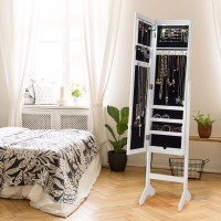 Giantex Modern Mirrored Jewelry Cabinet Armoire Organizer Storage LED Lights W/ Stand Home Furniture HW58854