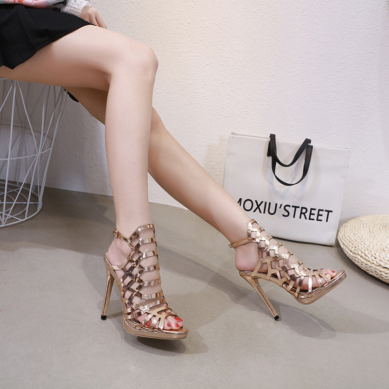98b13f3197 Noble Gold High Sandals Sexy Peep Toe Hollow Pumps Shoes Summer Comfortable  Ladies Gladiator High Heels Nightclub Party Shoes