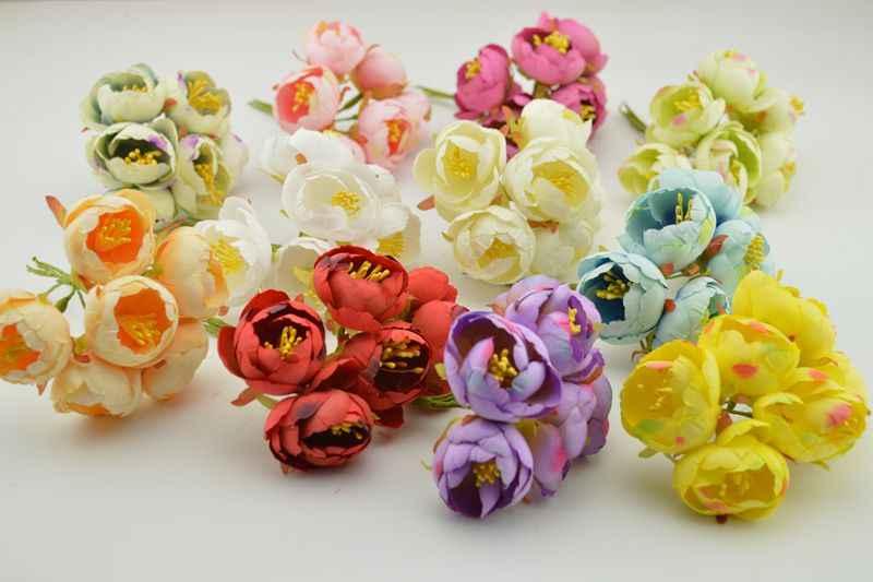 6pcs Stamen artificial flowers simulation small silk cloth roses tea bags DIY Wreath handmade wedding ball Gift box decoration