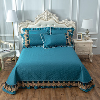Cotton embroidery with cotton quilting Bedspread Fitted Sheet Pillowcases 2/3 pcs Luxury Pure lace Bedding
