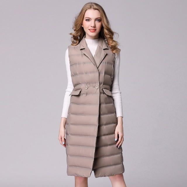 New Long Vest Women White Duck Down Vest Ultra Light Down Vest Jacket Winter Sleeveless Slim Waistcoat