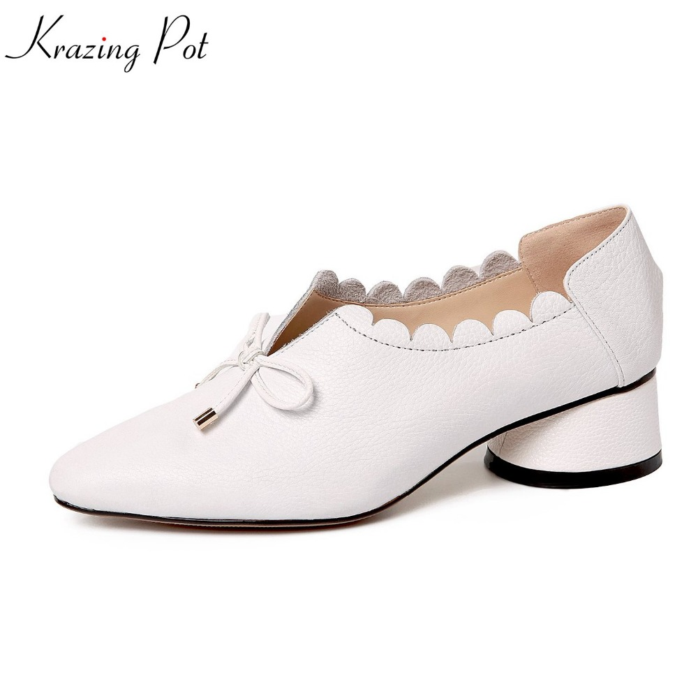 krazing Pot genuine leather shallow bowtie solid sweet women pumps slip on med heel pointed toe office lady lace work shoes L12 xiaying smile summer women sandals casual fashion lady square heel slip on flock shoes pointed toe cover heel lace bowtie shoes page 1