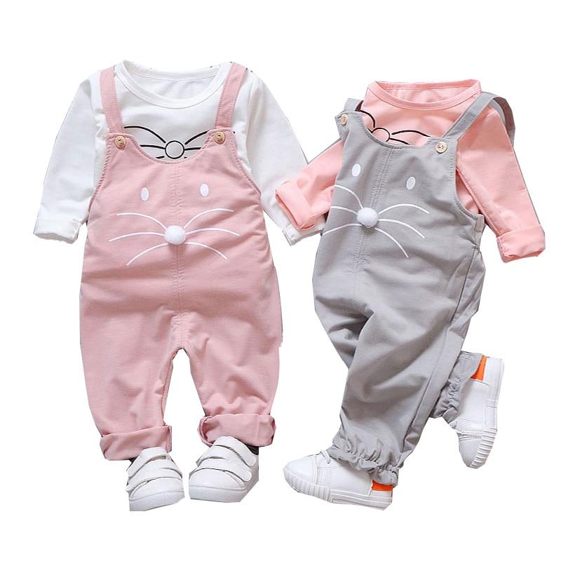 Conjuntos de Roupas de outono Bebê Recém-nascido Meninas Terno T-shirt + Calças Terno Do Bebê Meninas Conjuntos Esportivos Fora Desgaste Bonito
