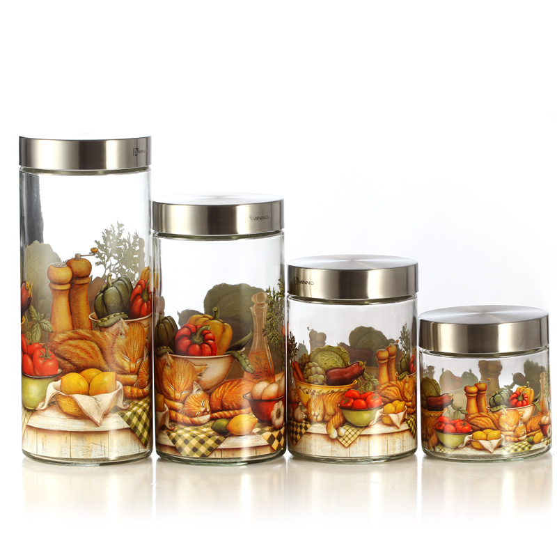 Storage tank lunwen114cereals glass airtight container kitchen