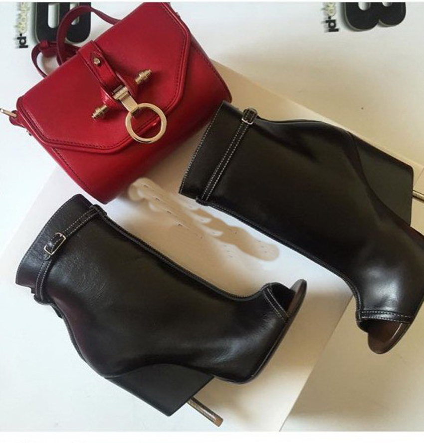 Hot selling spring autumn fashion ankle boots high heels boots peep toe zipper sexy botas strange heel buckle strap women shoes
