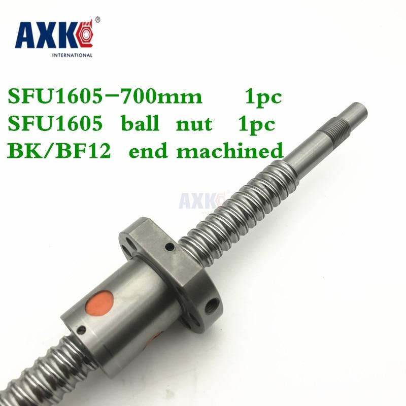 купить Axk Ballscrew 1605 Sfu1605 L=700mm Rolled Ball Screw With Single Ballnut For Cnc Parts Bk/bf12 Standard End Machined по цене 2961.29 рублей