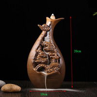 T Glaze Smoking Backflow Incense Burner buddhist office decor Waterfall Tower Cone Incense Base Ceramic Burners with Gift Box