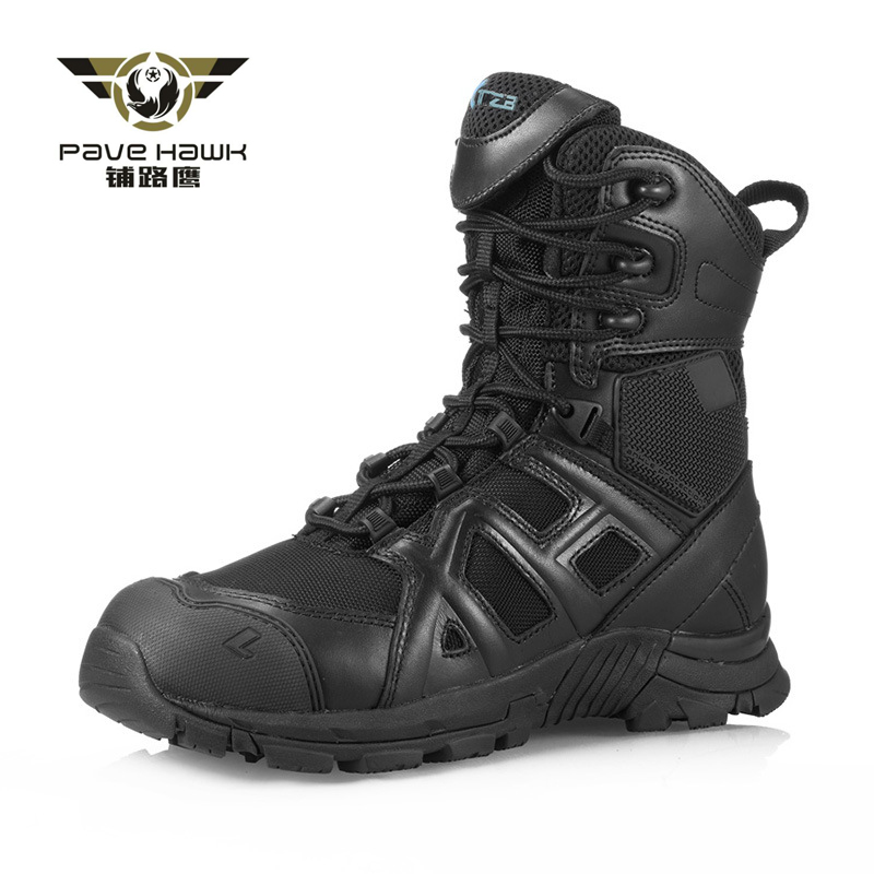 Hiking Shoes Men Calfskin Leather Side Zipper Breathable Outdoor Sport Desert Hunting Climbing Sneakers Military Tactical