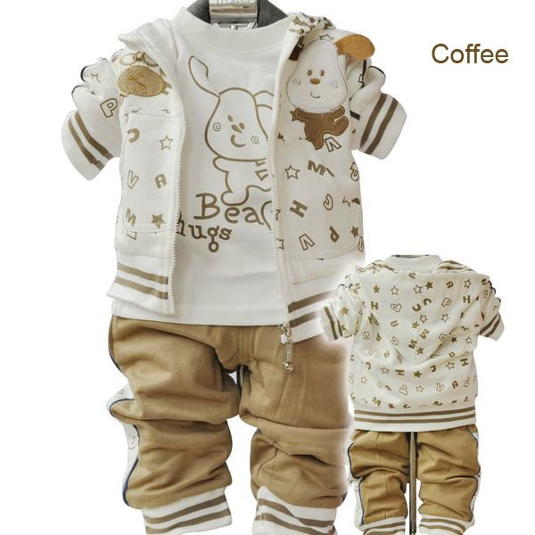 free shipping wholesale cute dog girls boys sport suits baby boy set 3piece infant