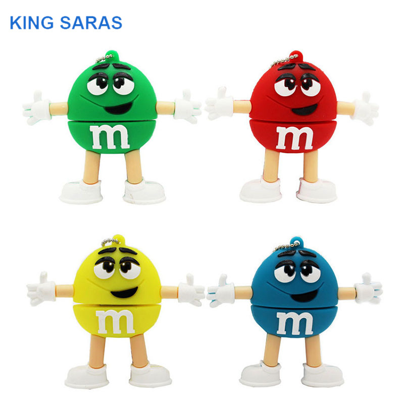KING SARAS  64GB Red Pink Green Blue Cartoon M M Bean Usb Flash Drive Usb 2.0 4GB 8GB 16GB 32GB Pendrive Gift Usb