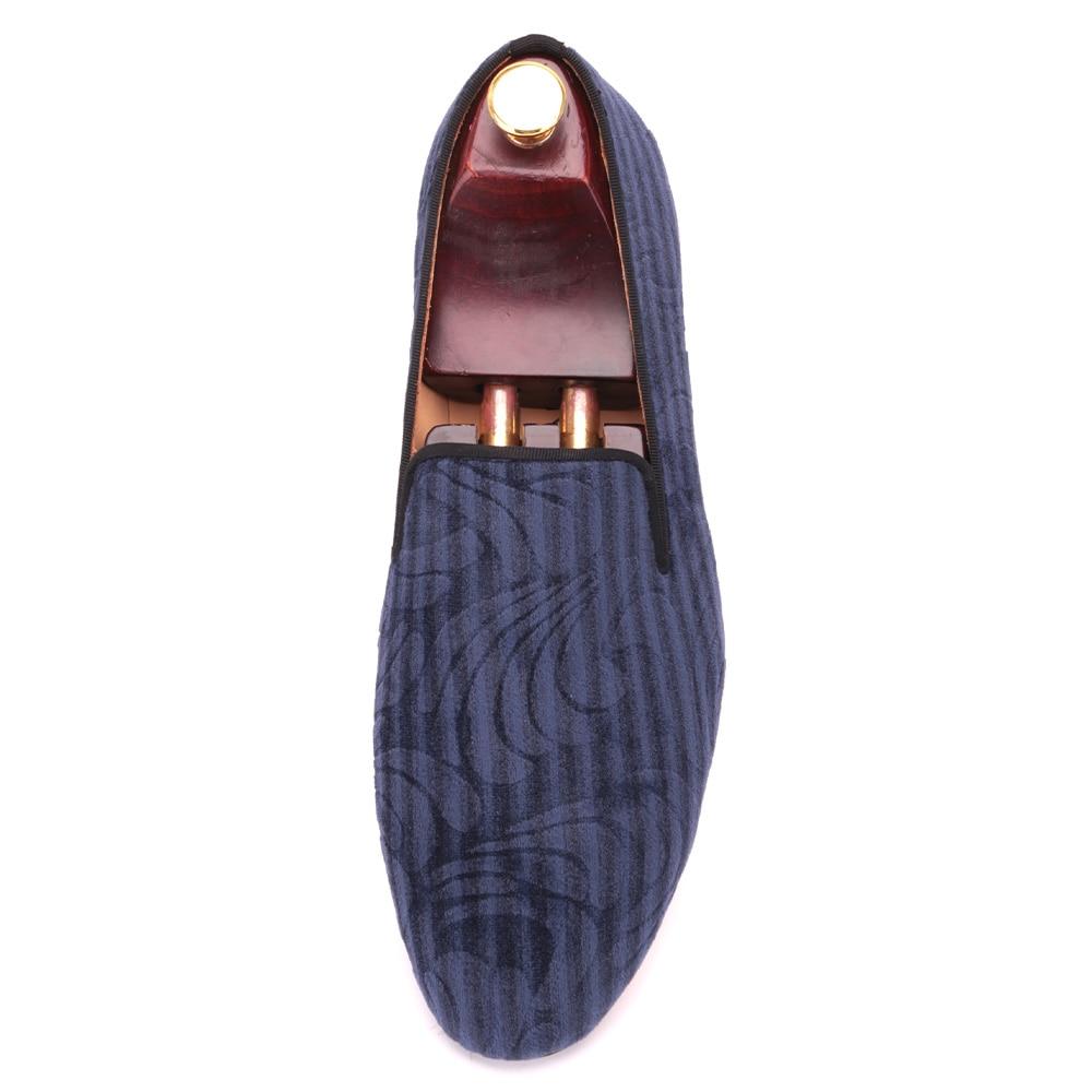 Terciopelo Suela Paisley Impresión Partido Y Hombres Genuino Holgazanes Plantilla Vestido Mano Hecha A Con Zapatos Boda De Del Azul Diseño Cuero wxfPqtZt