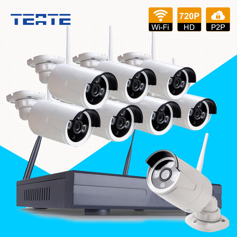 TEATE Wifi 8CH HD Wireless NVR CCTV System 8pcs 720P Waterproof IP WIFI Camera Home Security Safety System Kit 8channel