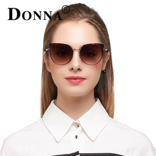Donna Негабаритных кошачий глаз солнцезащитные очки женские круглый классический розовое золото кадр без каблука розовый Sun Женская мода линзы очков D92