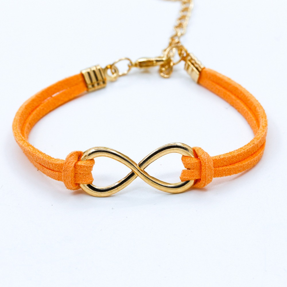 Trendy Unisex Rope Gold Color Infinity Charm Bracelets Bangles For Women Lovers Leather Symbol Bohemian Jewelry Gift Wholesale