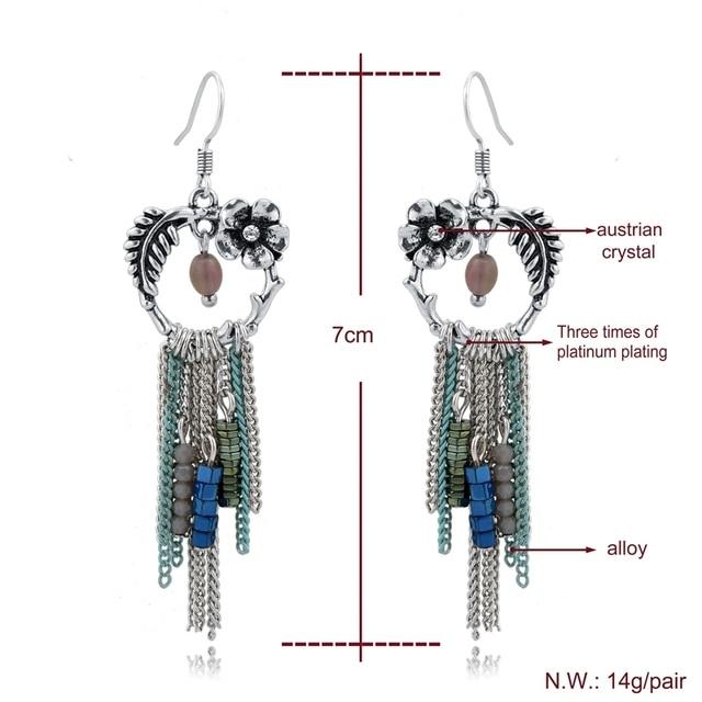 Женские серьги подвески chicvie Серебристые с кристаллами ювелирные
