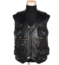 Free shipping!!!!!2016 leather vest Head layer cowhide ma3 jia3 leisure outdoor pocket