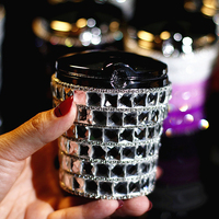 Portable Car Ashtray Crystal Rhinestones Diamond Auto Ashtrays Storage Cup Holder For Girls Interior Decoration Accessories
