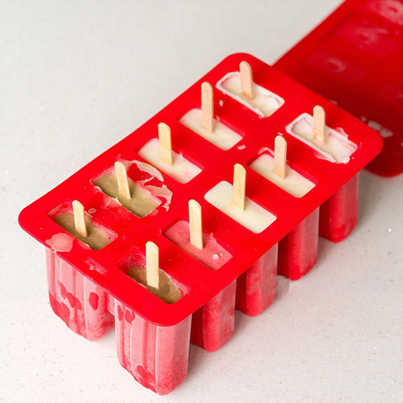 10 cavity Classic Popsicle Mold with Lid Retro Ice Cream Mould Gift with 12pcs Popsicle Sticks