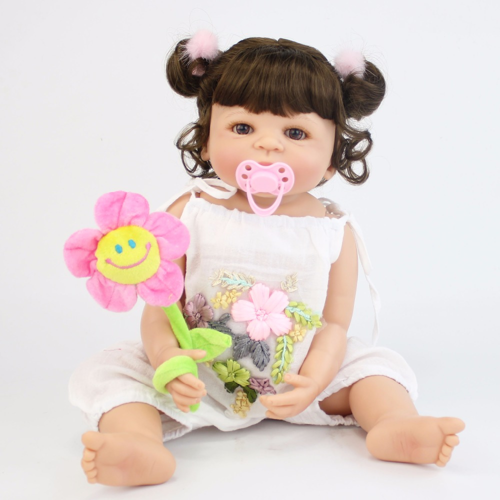 55CM Full Body SIlicone Vinyl Girl Reborn Babies Doll Bebe Alive Lifelike Bathe Toys Fashion Birthday Gift Princess Toddler Doll collectible washable full body vinyl silicone reborn toddler princess girl baby alive doll toys for children birthday gift dolls
