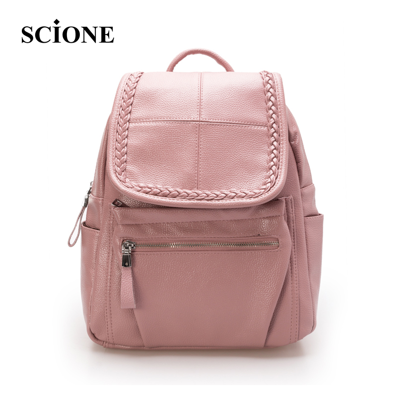 SCIONE Brand Famous Women Backpack Korean Fashion PU Leather Shoulder Bag Pattern Small Backpack Embossed School