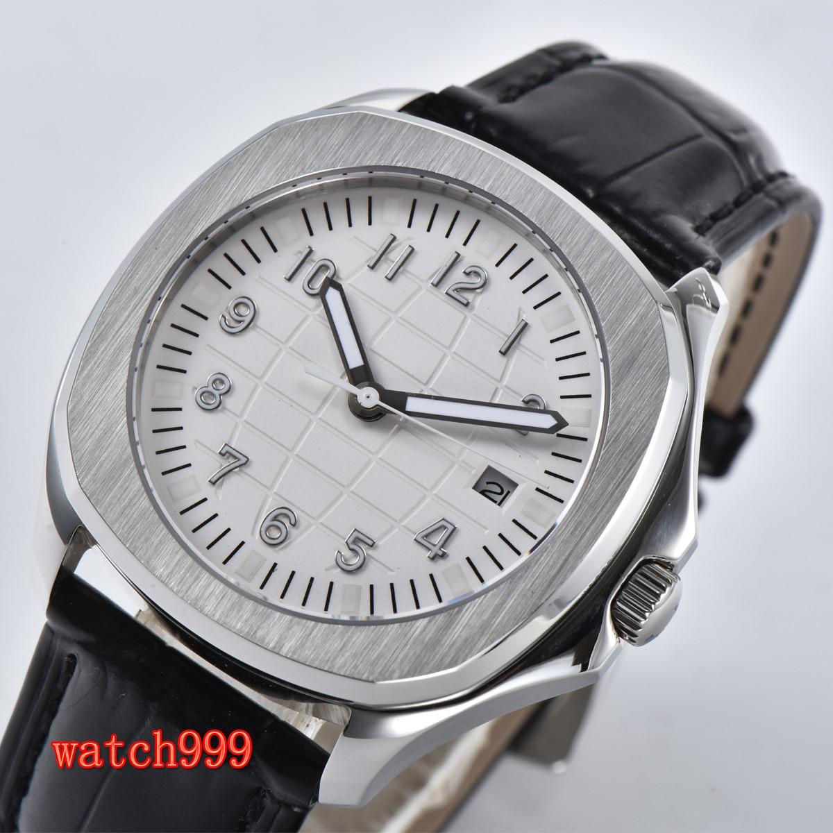BLIGER 40mm sapphire glass white dial date automatic men's fashion watch black belt waterproof mechanical watch