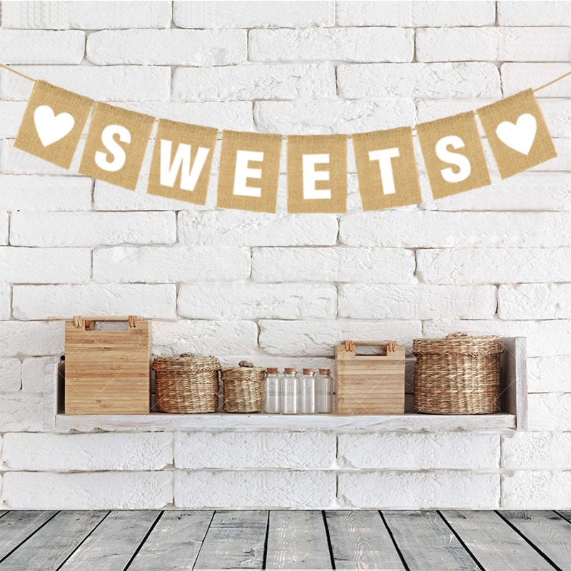 Love Heart Sweets Wedding Party Decoration Banner Bunting Garland Vintage Rustic Wedding Engagement Bridal Shower Hanging Signs