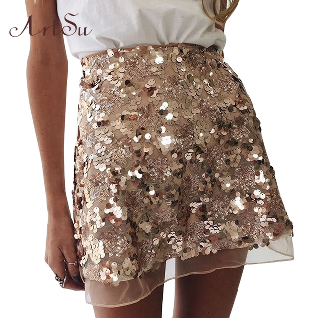 Aliexpress.com : Buy ArtSu Gold Sequin Mesh Mini Skirts Womens ...