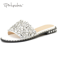 Pink Palms Summer Shoes Crystal Slides Shoes Women Flip Flops Flat With Casual Shoes Transparent Diamond