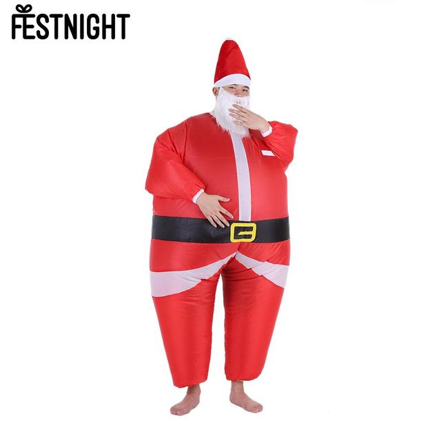 Funny Christmas Inflatable Santa Claus Costume Jumpsuit Air Fan ...