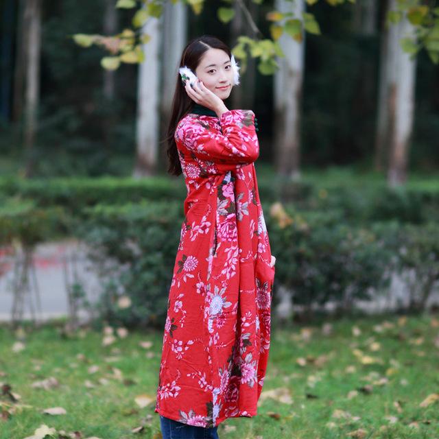 Las mujeres 2016 de Algodón de Invierno ropa de abrigo Suelto de Lana Chino de Gran tamaño Literario Floral Ocasional Abrigo Parkas outwear