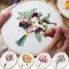 Bouquet de fleurs de broderie Couture Point de croix avec cadre de cerceau pour débutant Swing Art peinture artisanat cadeau de mariage