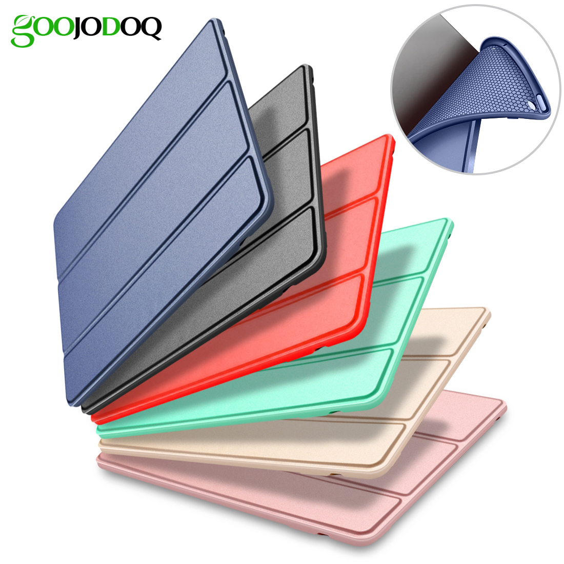 For iPad 9.7 2017 Case A1822 A1823 Silicone Soft Back PU Leather Smart Cover for iPad 2017 Case 9.7 inch 2018 Case Auto Sleep