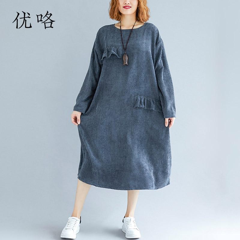 2018 ฤดูใบไม้ร่วงใหม่ที่เรียบง่ายผู้หญิง Plus ขนาดหลวม Ruffled ชุดหญิงเกาหลีฤดูหนาวสำหรับสุภาพสตรีเสื้อผ้า 4xl 5xl-ใน ชุดเดรส จาก เสื้อผ้าสตรี บน AliExpress - 11.11_สิบเอ็ด สิบเอ็ดวันคนโสด 1