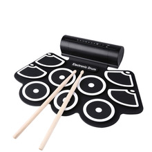 Midi Electric Drum Portable Electronic Roll Up Drum Pad Set 9 Silicon Pads Built-in SpeakersSupport USB & MIDI