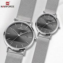 Парные часы, NAVIFORCE, мужские часы, простые Роскошные Кварцевые наручные часы, женские часы для мужчин и женщин, водонепроницаемые, для влюбленных, тонкие часы
