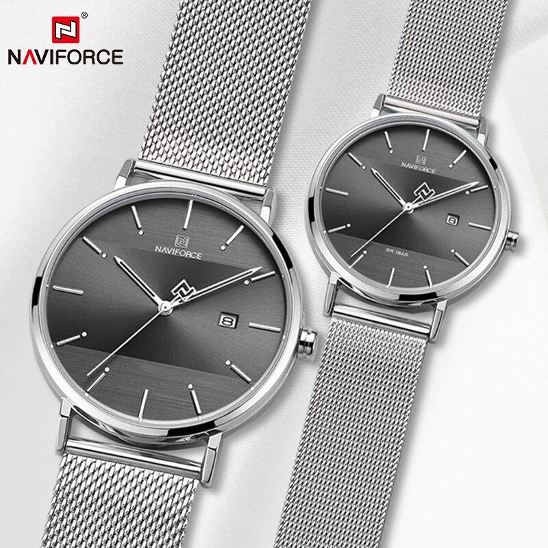 Casal assista naviforce relógio masculino simples luxo quartzo relógio de pulso feminino para amantes do sexo masculino à prova dwaterproof água fino relógio 2019