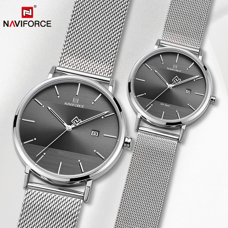 Couple Watch NAVIFORCE Mens Watch Simple Luxury Quartz Wristwatch Women Clock For Male Female Waterproof Lovers Thin Watch 2019