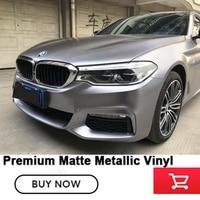 Premium High end vehicle Matte Metallic Vinyl Wrap pearl metal dark grey with air release channels low initial tack adhesive