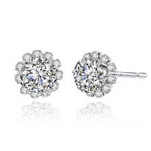 JEXXI Luxury Classic Round Carat Cubic Zirconia Stud Earrings 925 Sterling Silver Jewelry for Women Engagement & Wedding