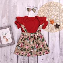 Fashion Cute Baby Girl Clothes Set Baby Bow-knot Headband+Solid Red Top+Floral Button Strap Skirt Princess Girl Outfit стоимость