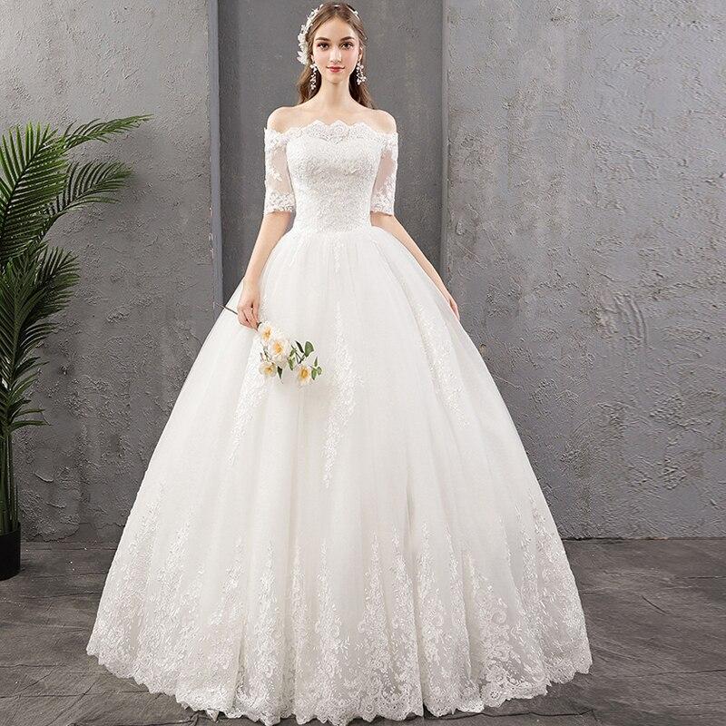 New Wedding Dresses 2019 New Boat Neck Half Sleeves Embroidery Lace Bride Dress Custom sizes robe de soiree Vestido De Noiva