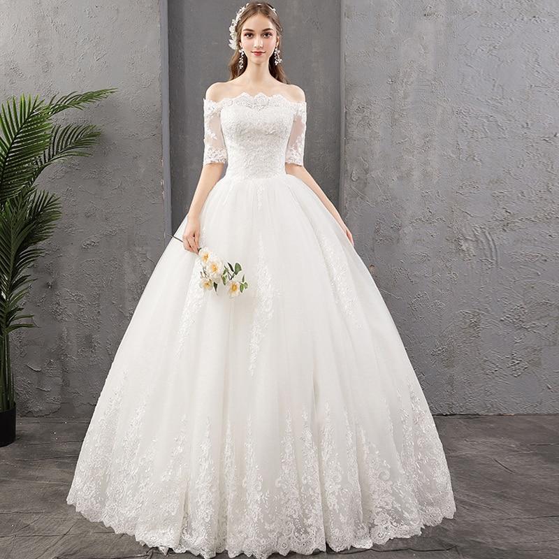 Nouvelles robes de mariée 2019 nouveau col bateau demi manches broderie dentelle robe De mariée tailles personnalisées robe de soirée robe De Noiva