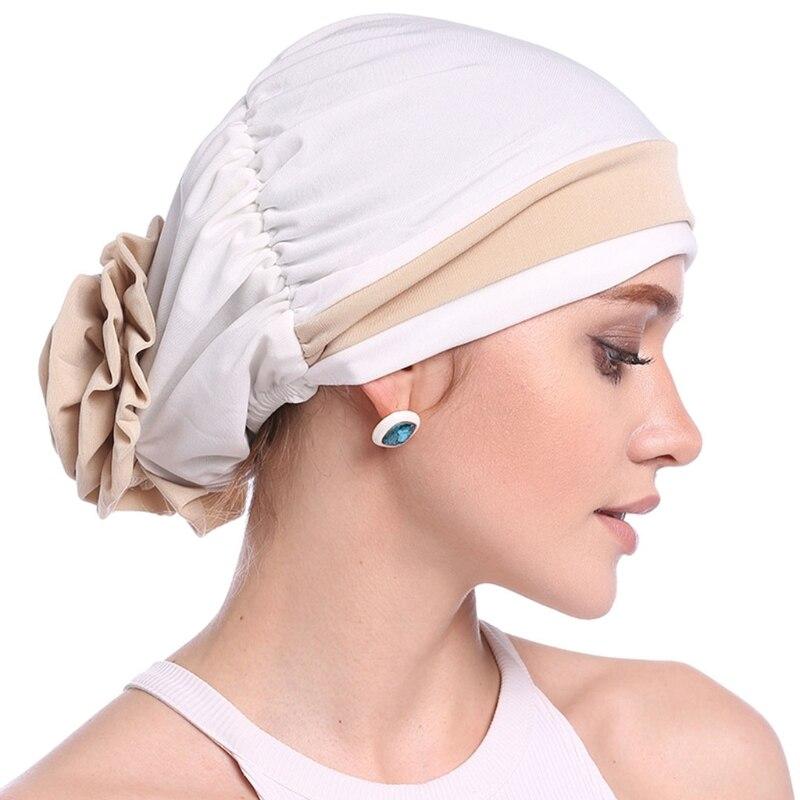 Image 2 - Fashion Womens Elegant Stretchy Flower Block Color Muslim Turban  Chemo Cancer Cap Beanie Hat Hot New Design 10 Colors 2018Womens  Skullies